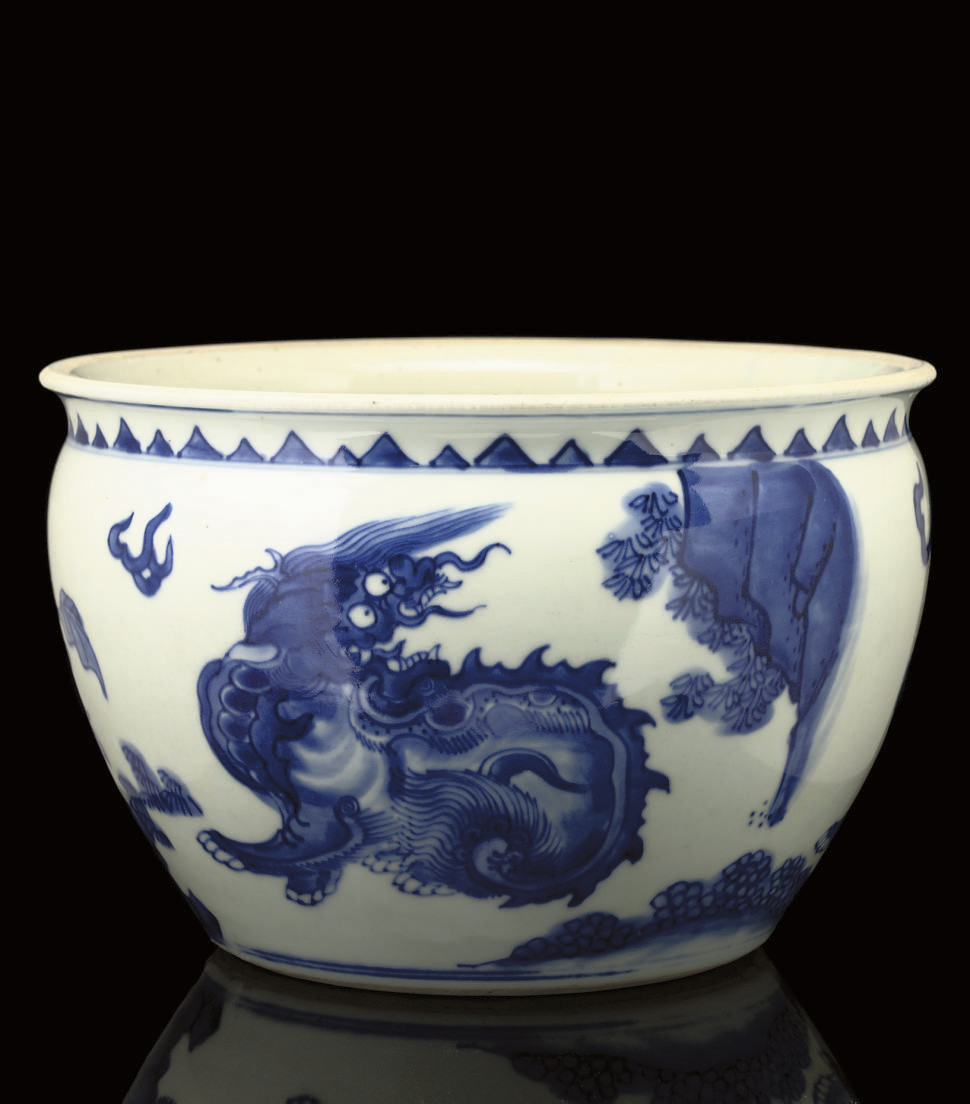 A Blue and White jardiniere, T