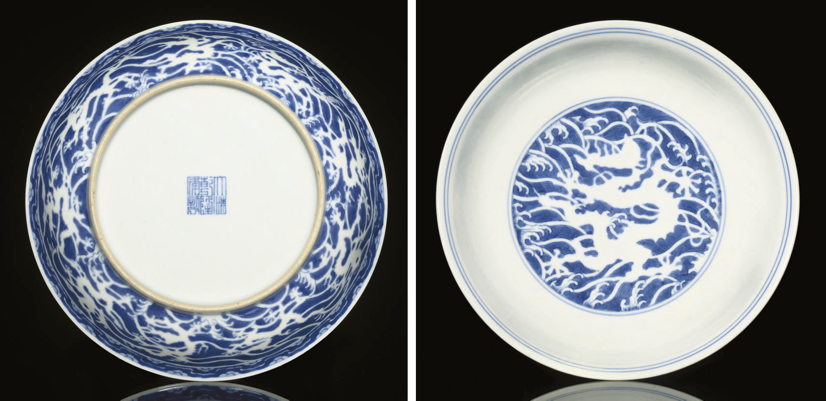 A blue and white dragon dish,