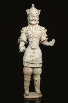 A painted pottery figure of a