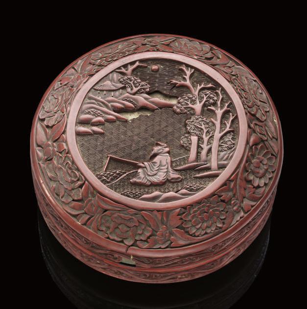 A Cinnabar lacquer circular bo
