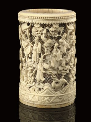 An ivory brushpot, 19th Centur