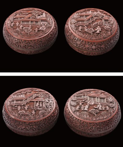 A pair of cinnabar lacquer box