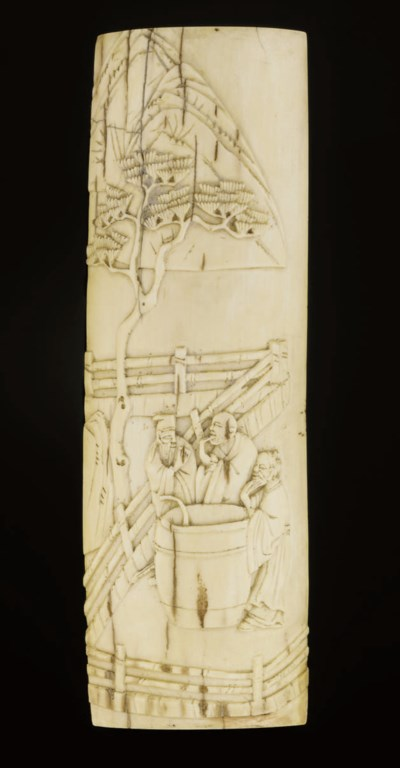 A carved ivory wrist-rest, 17t