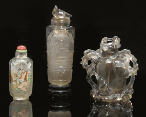Three Rock Crystal Snuff Bottl