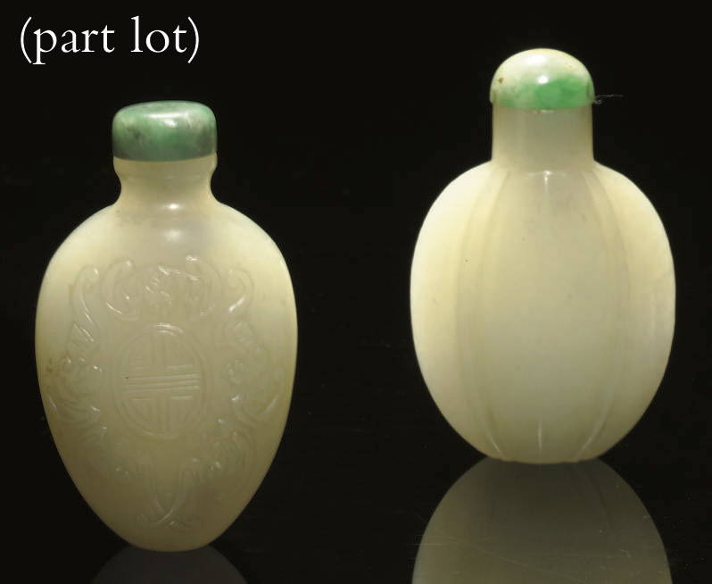 A Group of three jade snuff bo