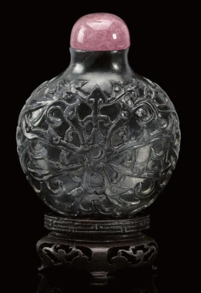 A black jade snuff bottle, lat