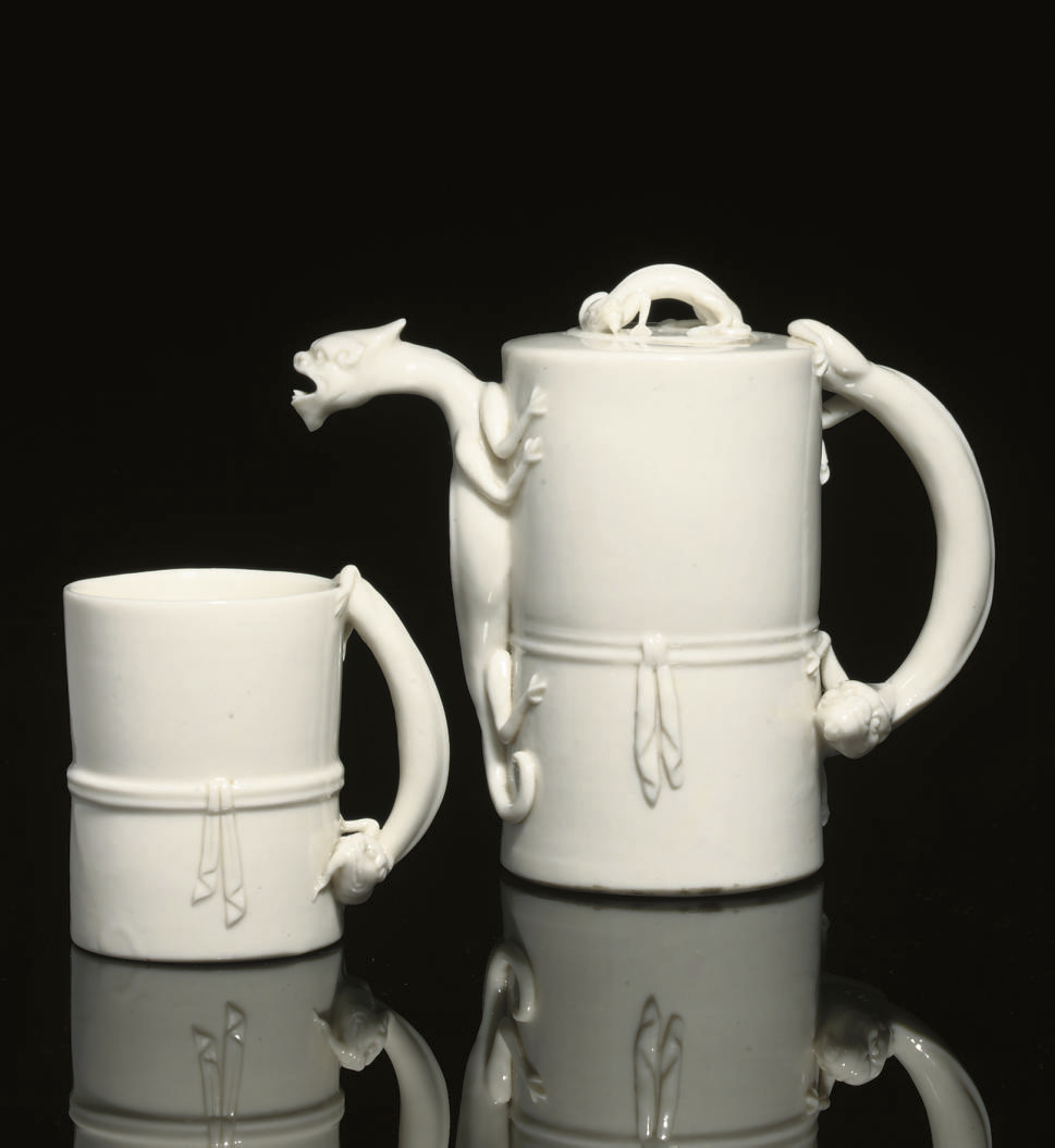 A blanc-de-chine wine pot and