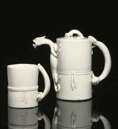 A blanc-de-chine wine pot and