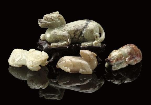 FOUR CHINESE JADE CARVINGS, 17