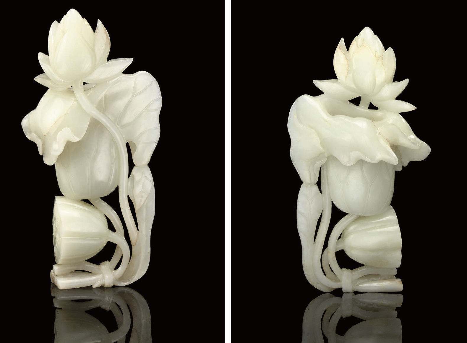 A WHITE JADE LOTUS FLOWER VASE
