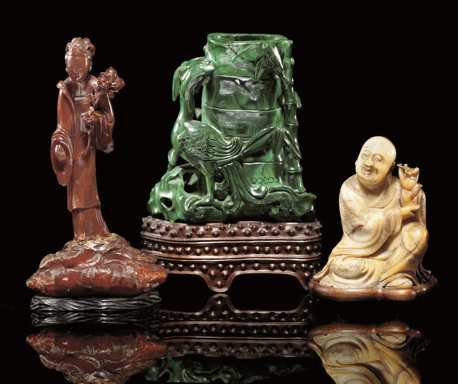 A carved malachite vase, 19th