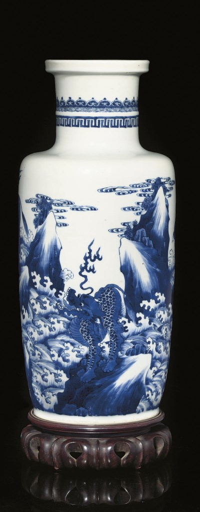 A Blue and white rouleau vase,