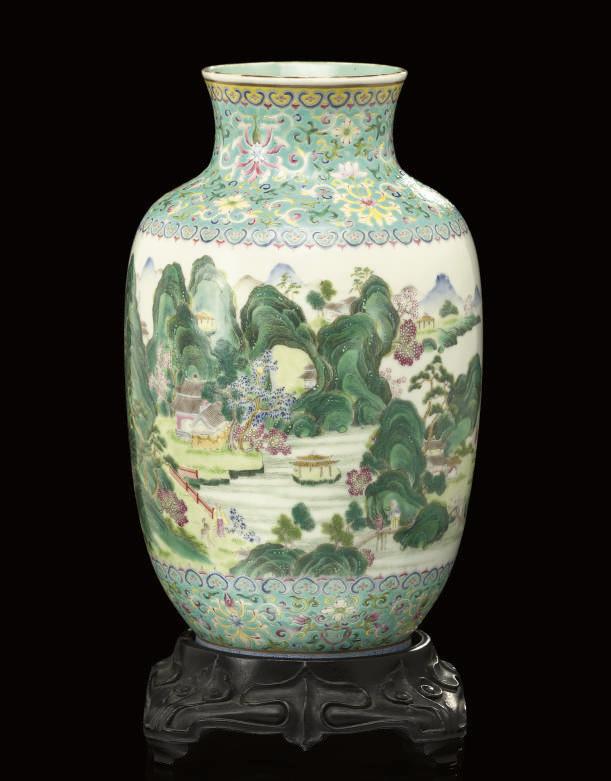A Famille rose ovoid vase, und