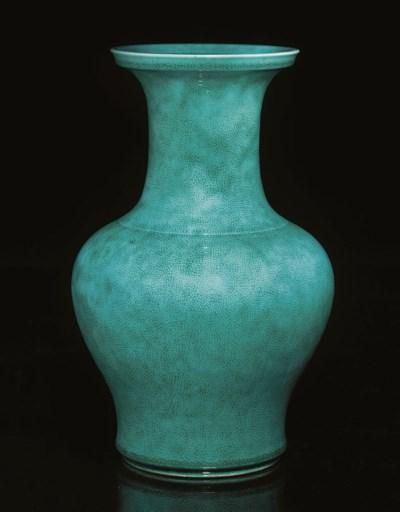A turquoise glazed baluster va