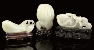 Three pale celadon carvings, 1