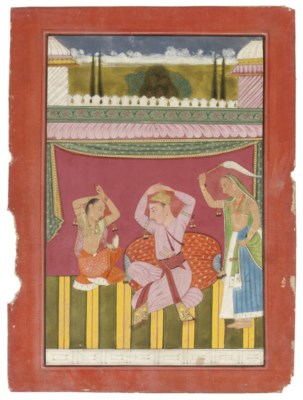 A NOBLE WITH TWO ATTENDANTS, B