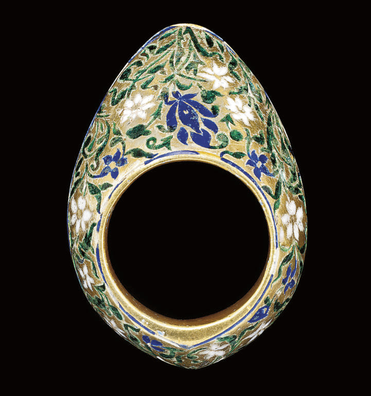 A GREEN AND BLUE ENAMELLED SIL