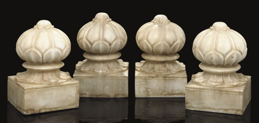 FOUR MARBLE CARPET WEIGHTS, IN