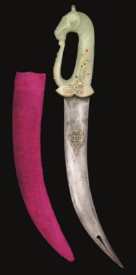 A JADE HORSE HILTED DAGGER, IN
