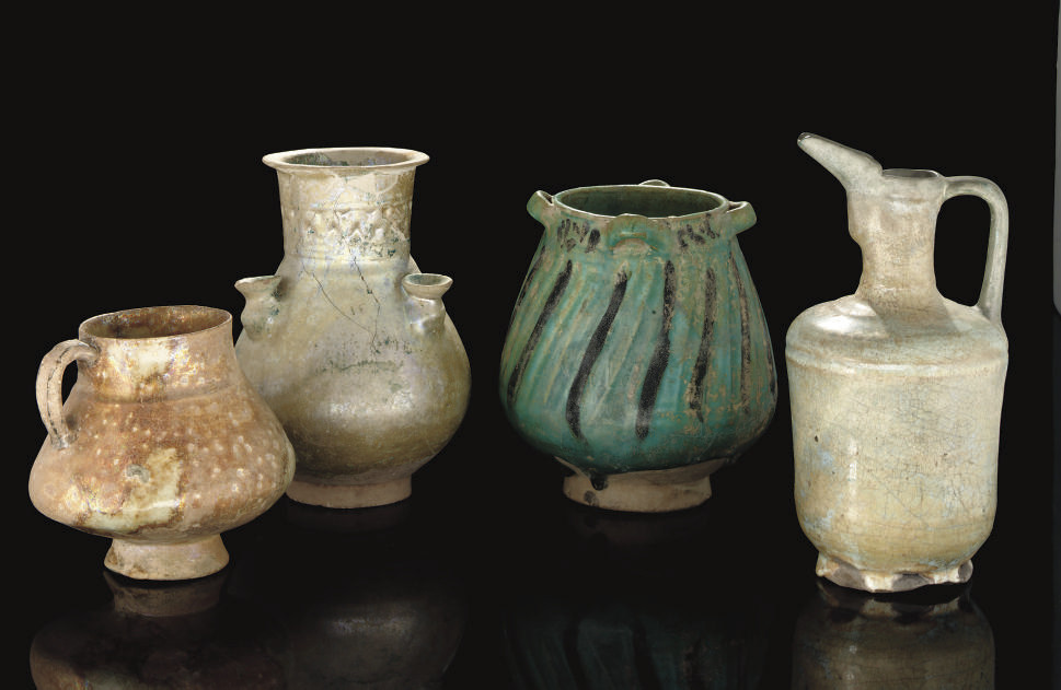 A GROUP OF POTTERY VASES AND W