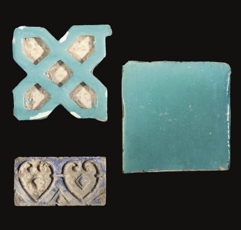 THREE TILES, IRAN, 13TH CENTUR