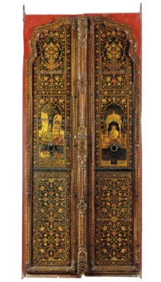 A PAIR OF PAINTED LACQUERED WO