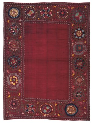A RED SILK SUSANI MARRIAGE BED