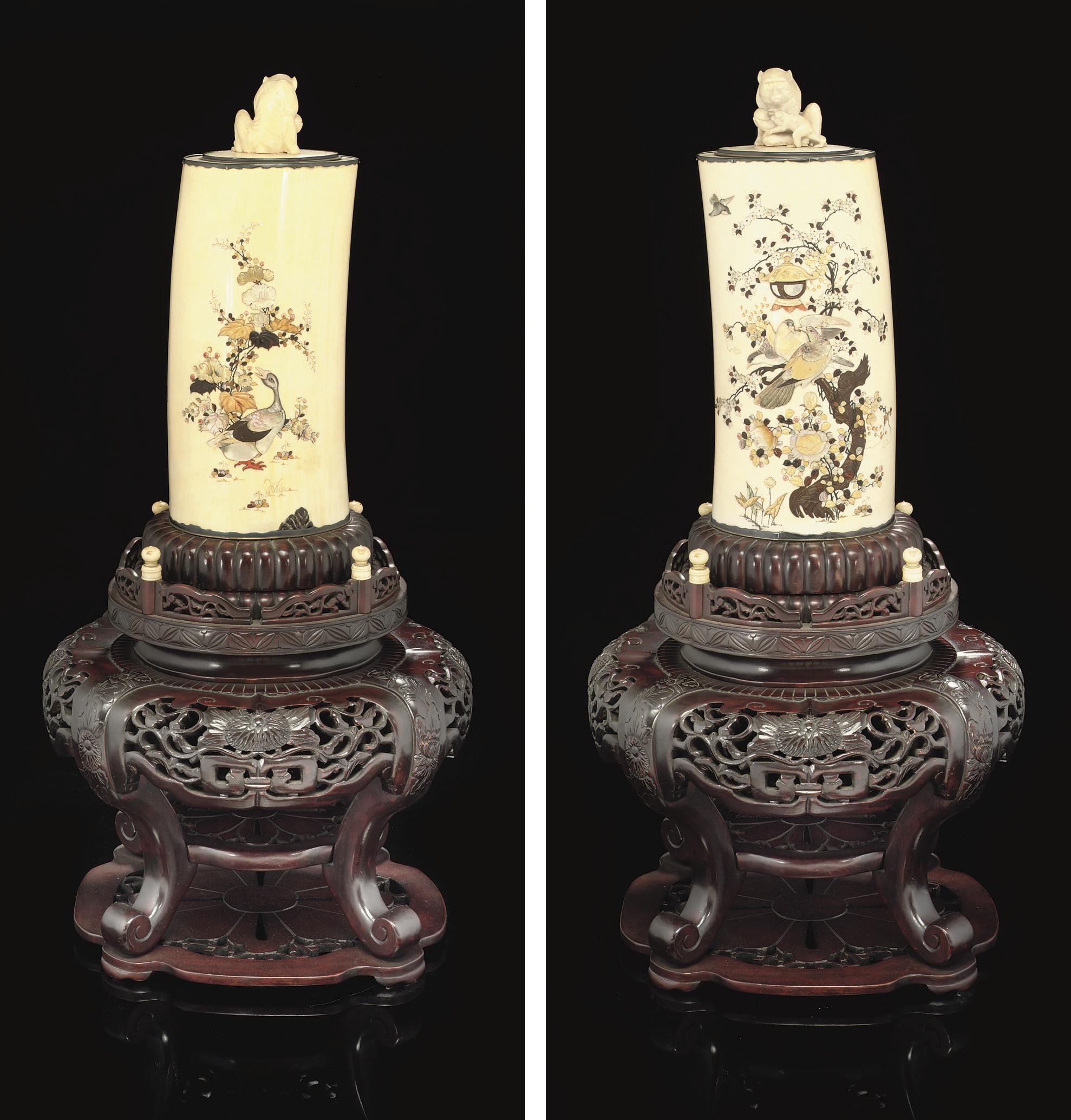 A Shibayama Inlaid Ivory Tusk Vase and Cover, Signed Masahisa, Meiji Period (1868-1912)