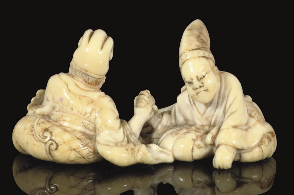An ivory netsuke, signed Hakuu