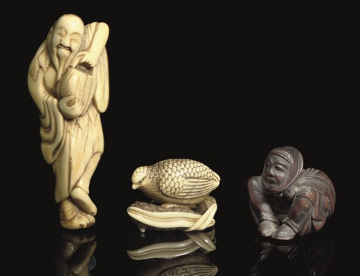 Seven wood and ivory netsuke,