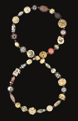 An Ojime beaded Necklace, 19th