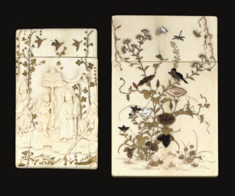 A Shibayama decorated card cas