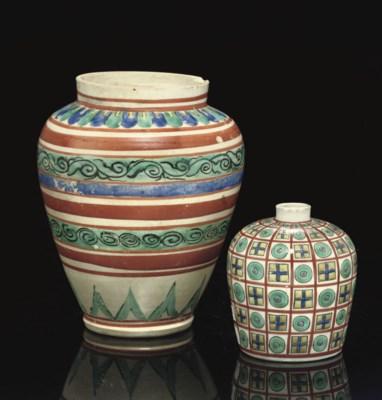 An Early enamelled Arita Jar,