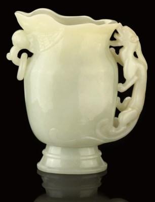 A WHITE JADE EWER, 19TH CENTUR