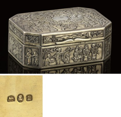 A CHINESE SILVER SNUFF BOX, BY