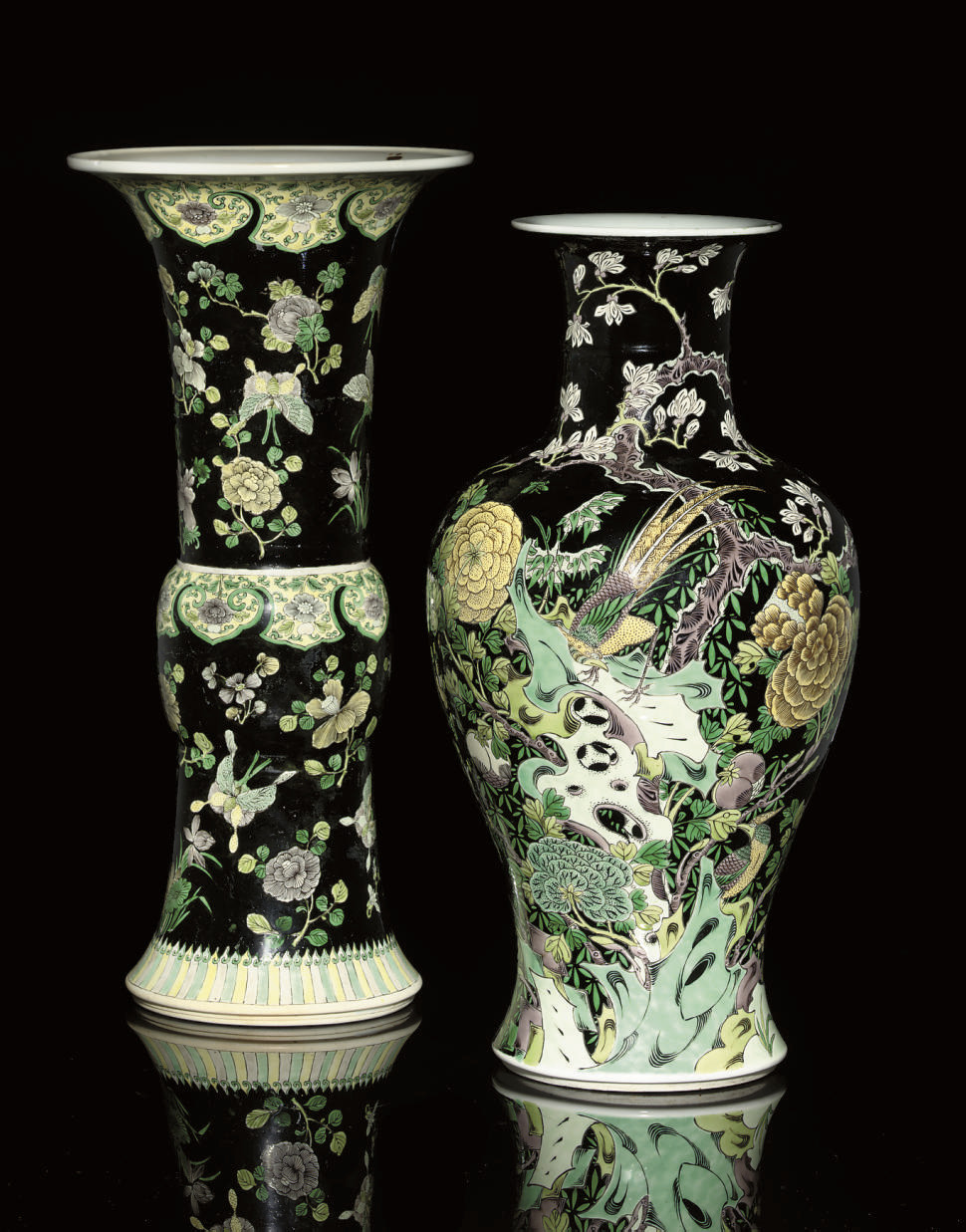 TWO FAMILLE NOIRE VASES, 19TH