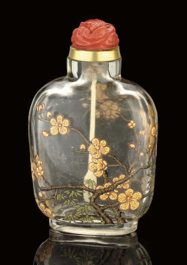 AN ENAMELLED GLASS SNUFF BOTTL
