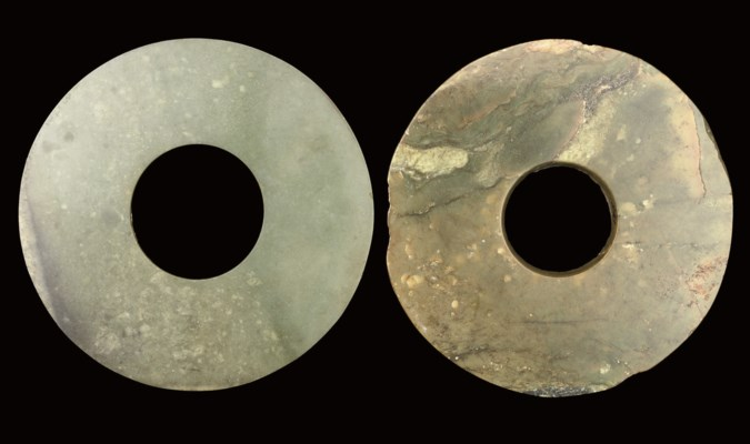 TWO GREEN JADE RITUAL DISCS, N