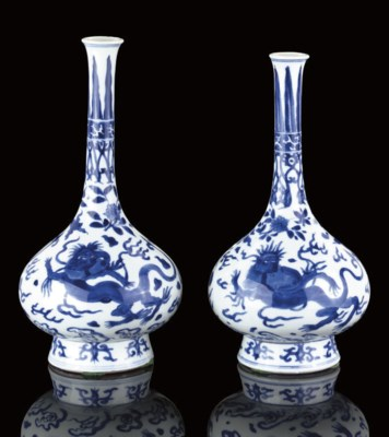 A MATCHED PAIR OF BLUE AND WHI
