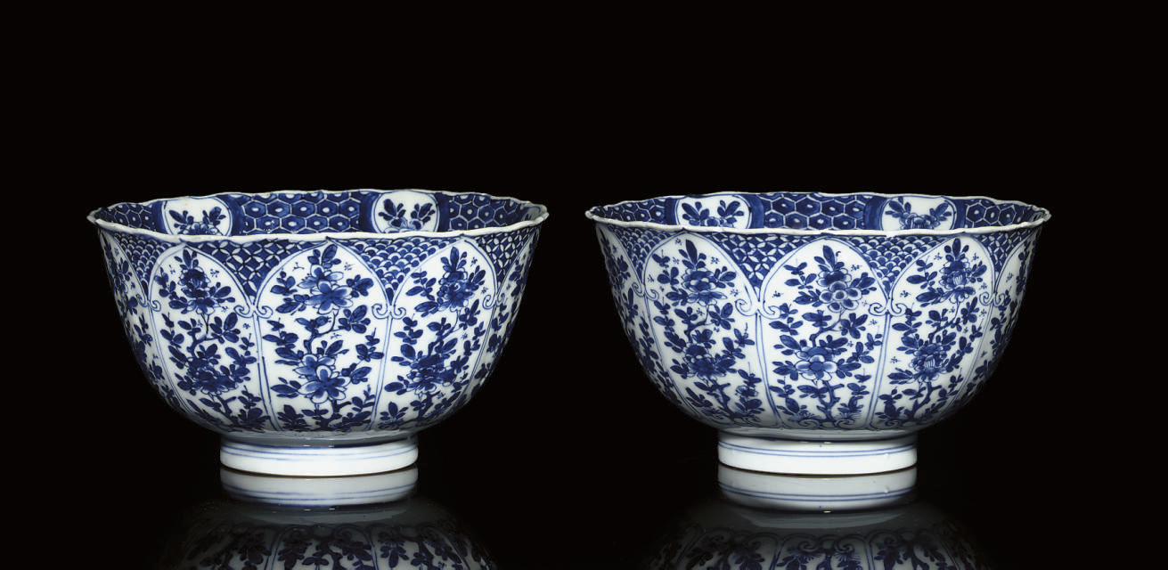 A PAIR OF BLUE AND WHITE FLUTE