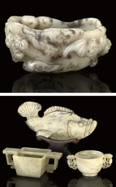 A GROUP OF FOUR JADE CARVINGS,