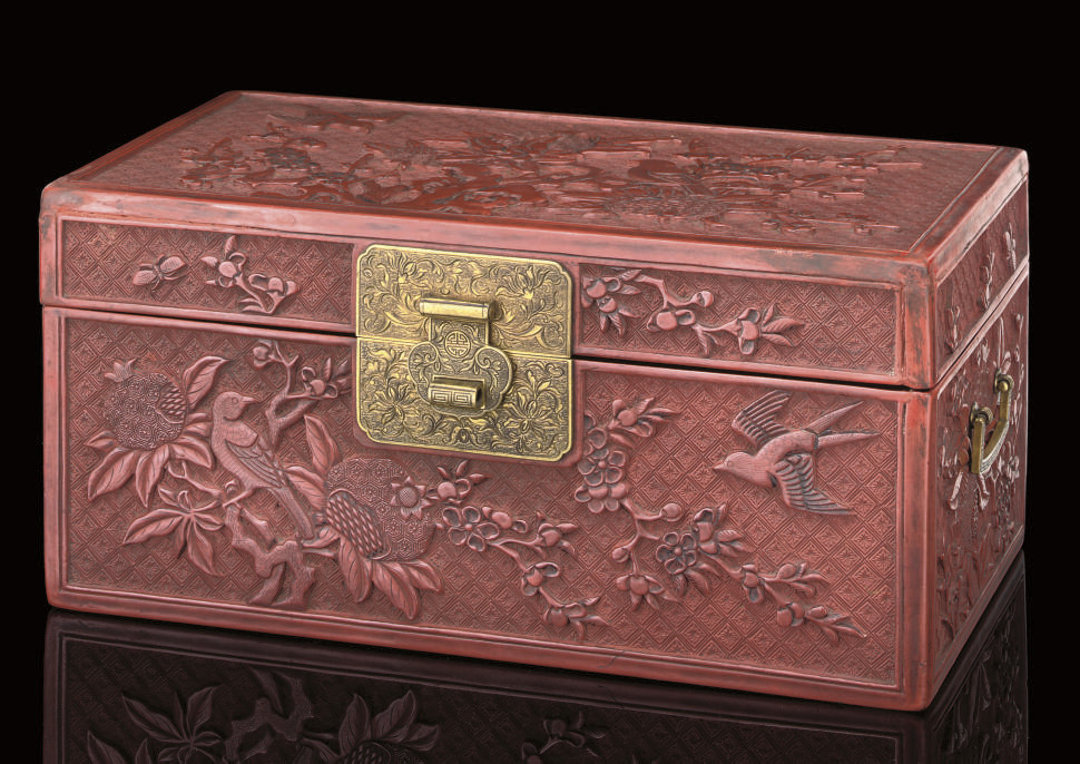 A CINNABAR LACQUER BOX AND HIN