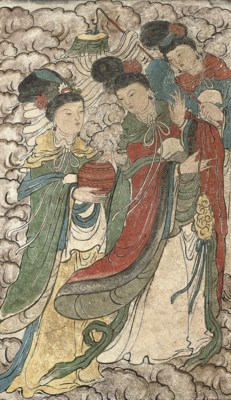 A PAINTED STUCCO PANEL OF THRE
