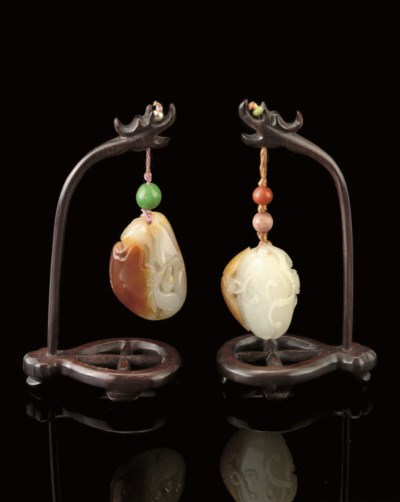 TWO RUSSET AND WHITE JADE PEND