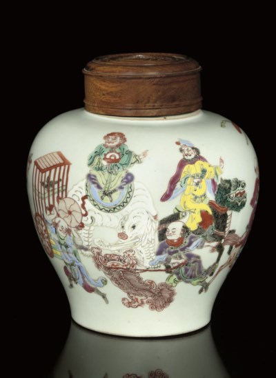 A FAMILLE ROSE JAR AND WOOD CO