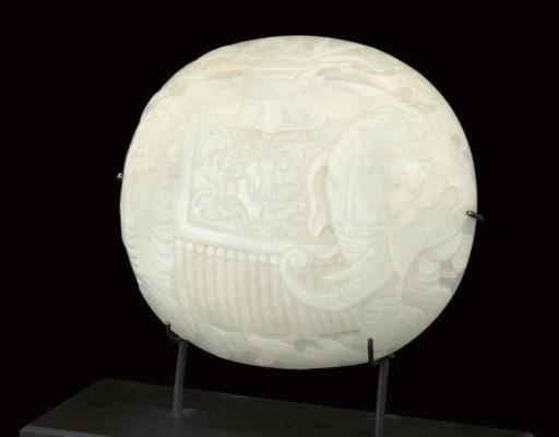A WHITE JADE RUYI SCEPTRE PLAQ