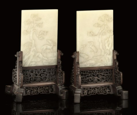 A PAIR OF WHITE JADE TABLE SCR