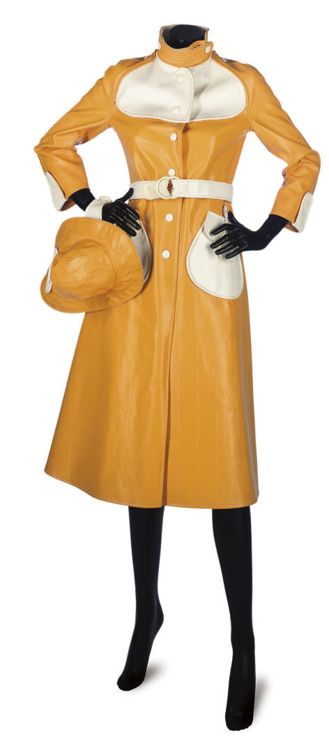 COURRÈGES A HONEY-YELLOW RAINCOAT AND HAT