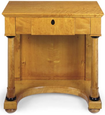 A SATIN BIRCH SIDE TABLE