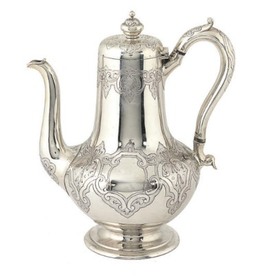 A VICTORIAN SILVER COFFEE POT,